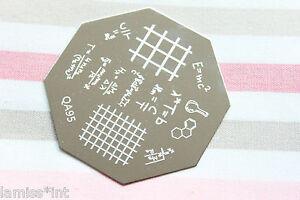 Nail-Art-Stamping-Schablone-Formel-Zahlen-QA95-Design-Buchstabe-Karo