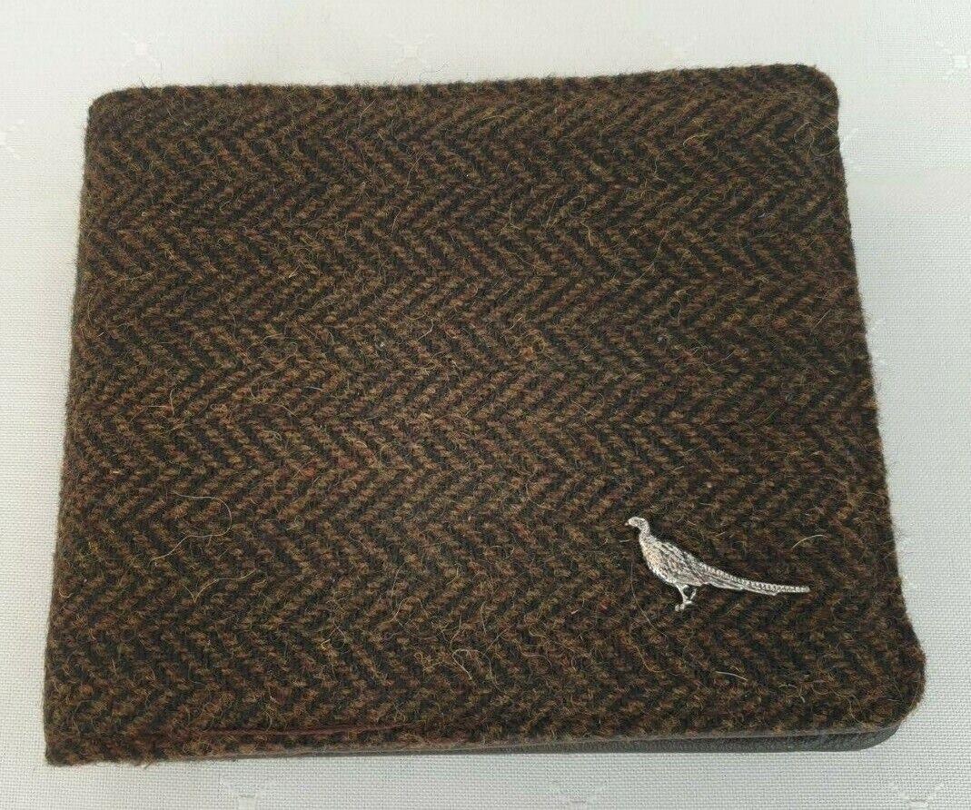 Edinburgh Woollen Mill PG Field Heritage Brown Tweed & Faux Leather Wallet Boxed
