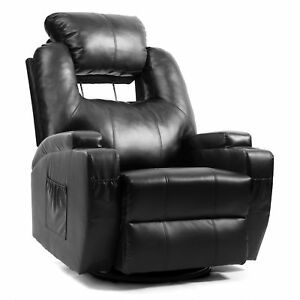 Pleasant Details About Black Leather Lazy Massage Recliner Chair Sofa Swivel 3600 W Cup Holders Cjindustries Chair Design For Home Cjindustriesco