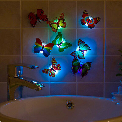 1XLovely  Color Changing Colorful Romantic LED Butterfly  Night Light Lamp 1pc