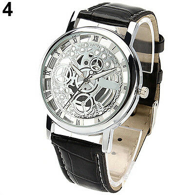 Mens Womens Wonderful Roman Numerals Faux Leather Skeleton Sports Wrist Watch