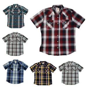 Levis-Men-039-s-Short-Sleeve-Snap-Slim-Casual-Button-Up-Levi-039-s-Shirts