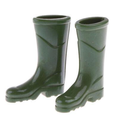 Miniature Green Rubber Rain Boots for 1//12 Scale Dollhouse Garden Yard Decor