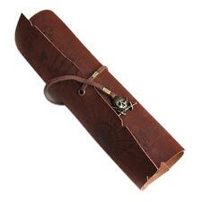 1pcs Retro Vintage PU Leather Pirates Map Engraved Pencil Roll Up Case Bag D6J4