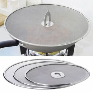 Stainless-Steel-Frying-Pan-Lid-Splatter-Cover-Spill-Proof-Screen-Handle-Kitchen