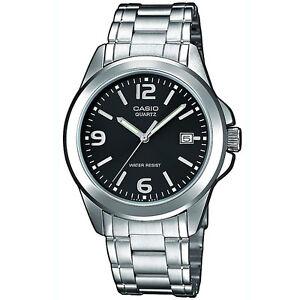 Casio-Uhr-MTP-1259PD-1A-Herren-Armbanduhr-Edelstahl-Schwarz-Silber-Men-NEU-amp-OVP