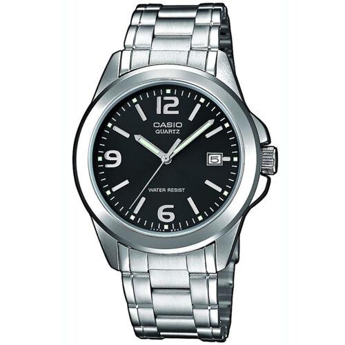 1 von 1 - Casio Uhr MTP-1259PD-1A Herren Armbanduhr Edelstahl Schwarz Silber Men NEU & OVP