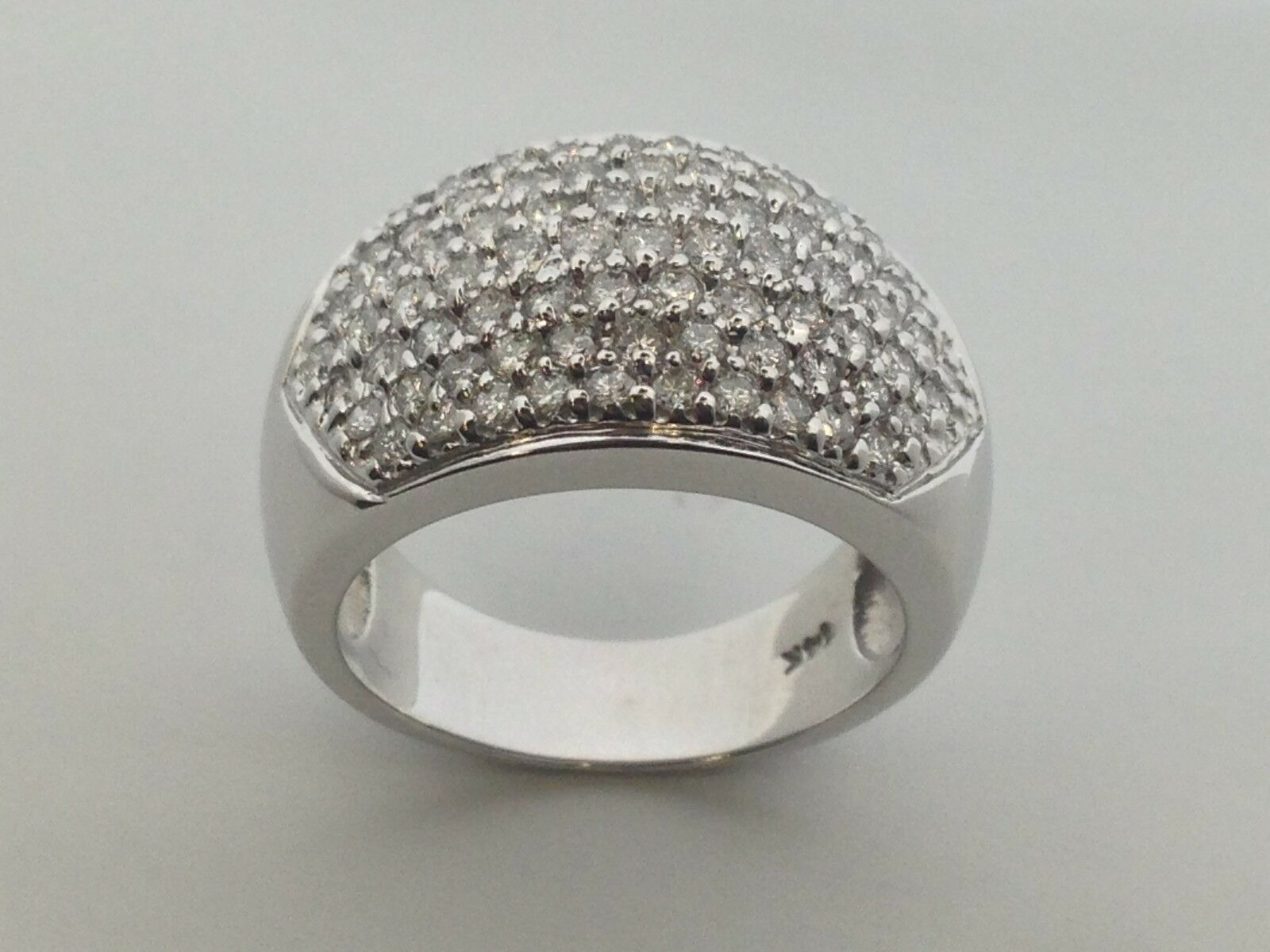 Natural Diamond Dome Ring Solid 14kt White gold