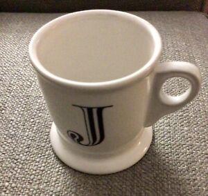 "Anthropologie Coffee Mug Cup Monogram Letter ""J"" Initial Shaving Alphabet"