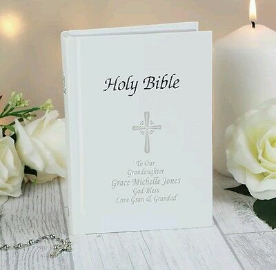 PERSONALISED HOLY BIBLE GIFT Baby Christening First Holy Communion Gift Baptism