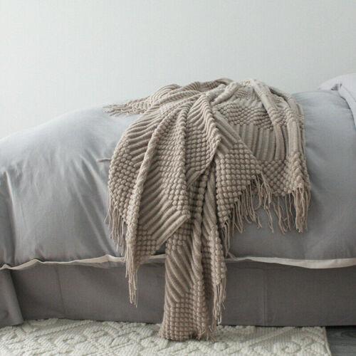 Gestrickt Decke Quaste Fransen Bett Sofa Couch Überwurf Pom Warm Winter 2020
