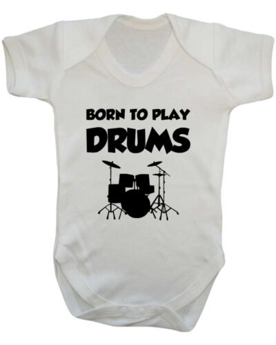 Baby Drums New Born Baby B-Shirts. Born To Play Drums Baby Vest Baby Shower
