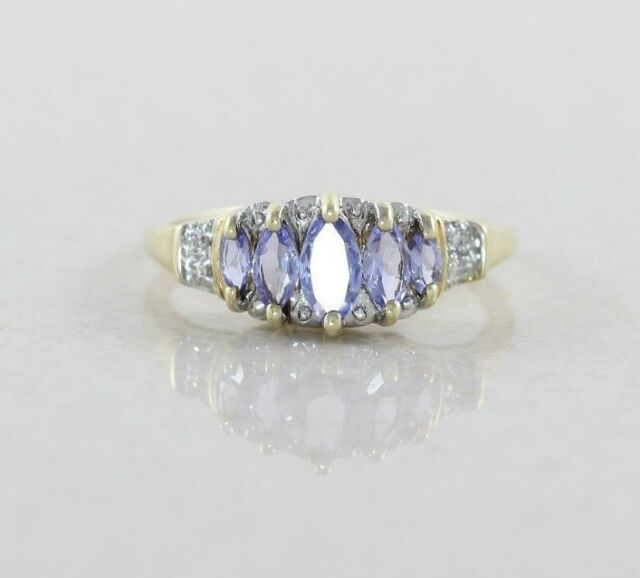 10k Yellow Gold Tanzanite and Diamond Ring Size 6