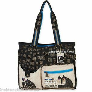 1987f732e Laurel Burch Wild Cats XL Shoulder Tote Bag Greek Key Design Retired ...