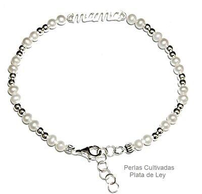Collar Perlas Naturales Bola Plata De 1ª Ley .925 Nuevo.