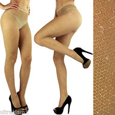 NUDE-Silver GLITTER FISHNET PANTYHOSE/TIGHTS/CROSSDRESSER/DRAG QUEEN/ Beige/Tan