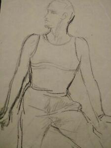 Dessin original esquisse marin Art Déco étude homme fusain 1920 - 1930 gentleman