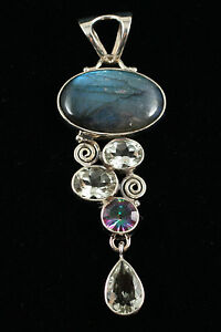 New Sterling Silver Pendant with Labradorite, mystic topaz and green amy