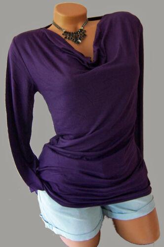 Geschmackvolles Shirt mit Wasserfallkragen Gr 48//50 lila 920523 Neu