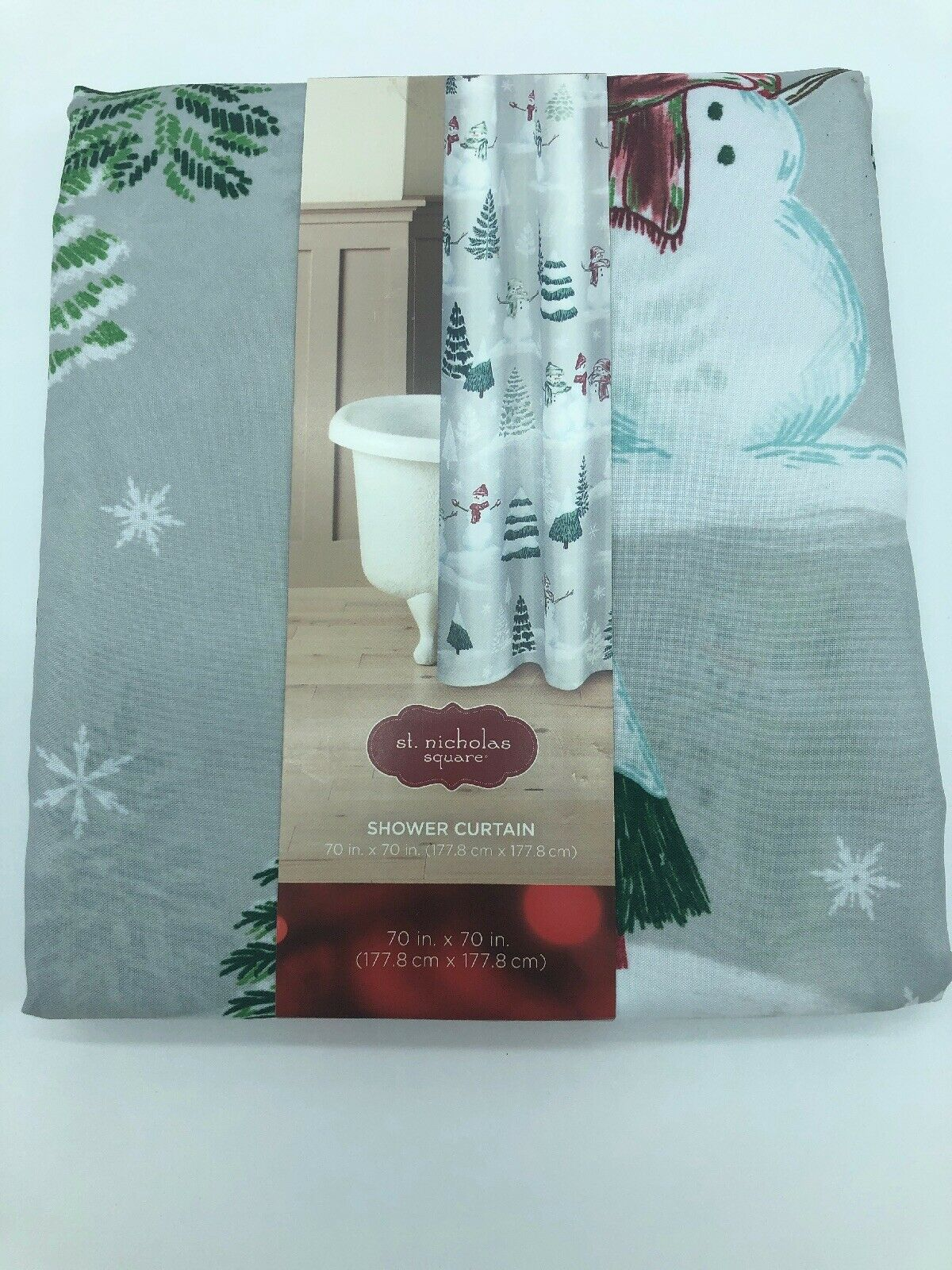 Farmhouse Winter Scenic Fabric Shower Curtain New Snowman St Nicholas Square Nee