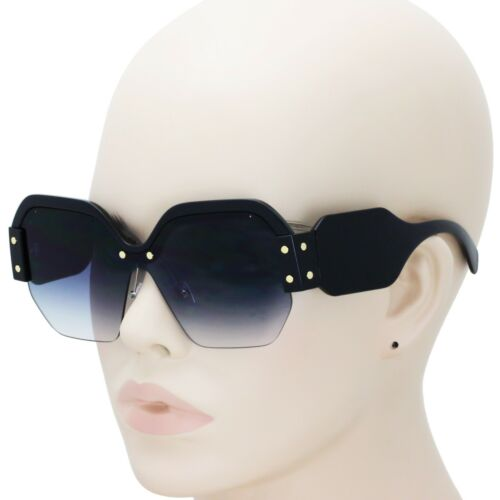 Oversized Steampunk Half Frame Square Sunglasses Retro Women Fashion Shades 2019