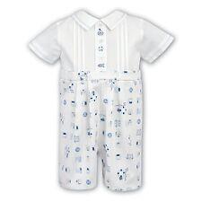 BNWT DESIGNER SARAH LOUISE BABY BOY WHITE/BLUE SAILOR OCCASION ROMPER AGE 12MTHS