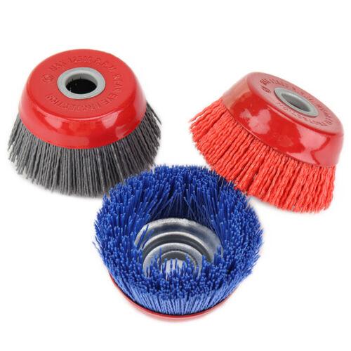4/'/' Nylon Abrasive Wire Cup Brush Polishing Rotary Tool 16MM Hole 80# 120# 240#
