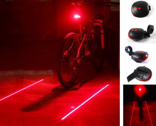 Bicycle Bike MTB Rear  Red Laser Beam Cycling 5 LED Light Safety Lamp Battery
