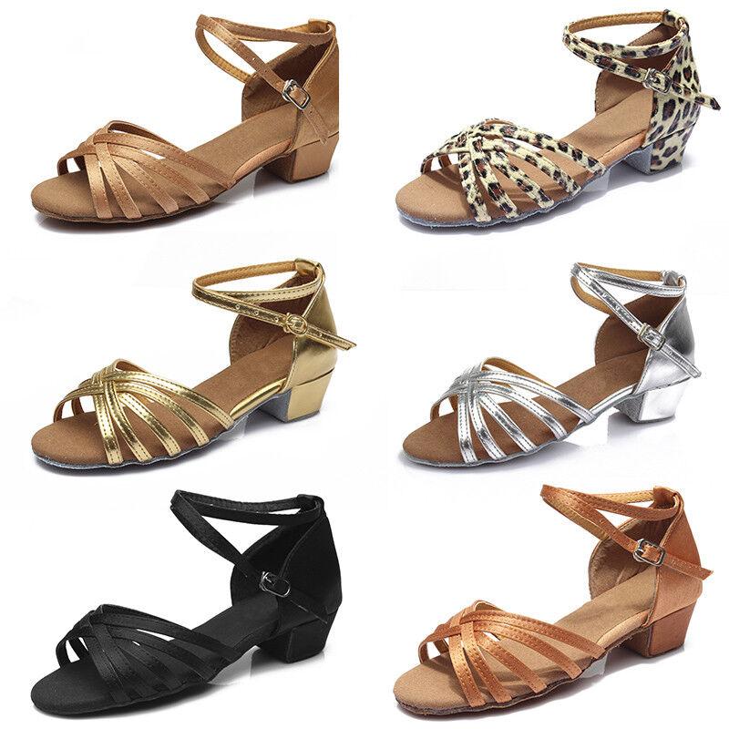Women Girls Child Ballroom Latin Tango Dance Shoes Heeled Salsa Dancing Shoes601