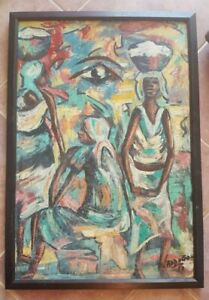 Oil-On-Canvas-Painting-by-ADDOGO-1969-Signed-Framed