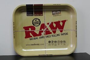 Raw-Tin-Metal-Large-Full-Size-Roll-Cigarette-Rolling-Tray-13-1-2-034-x-11-034