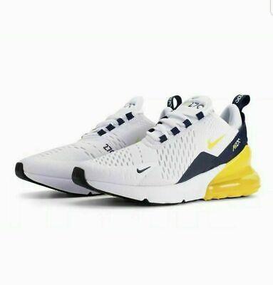 Nike Air Max 270 Bg Youth Taglia 3.5 Eur 36 (bq5776 100) Bianco/giallo/blu Marino-mostra Il Titolo Originale
