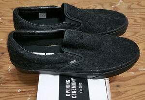 350218d8ca63de Vans X Opening Ceremony Black Wool Slip On Size 12 supreme wtaps ...