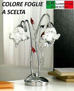 Lampada Da Tavolo Moderna Cromata 2 Luci Cromo Cristallo Murano Salotto Lamia Ebay