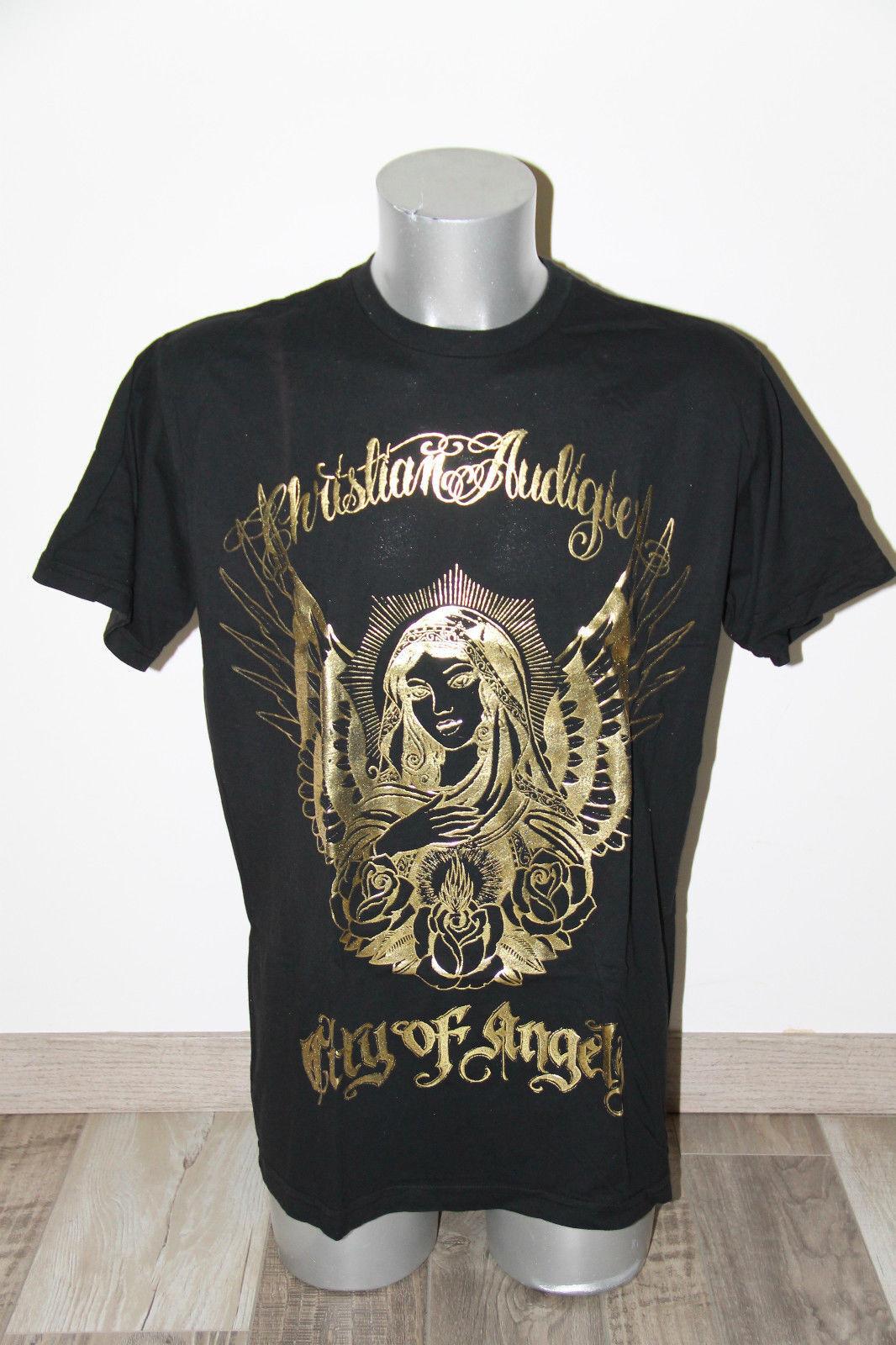 Maglietta nera dorato ED HARDY audigier città angeli TAGLIA XL ETICHETTA