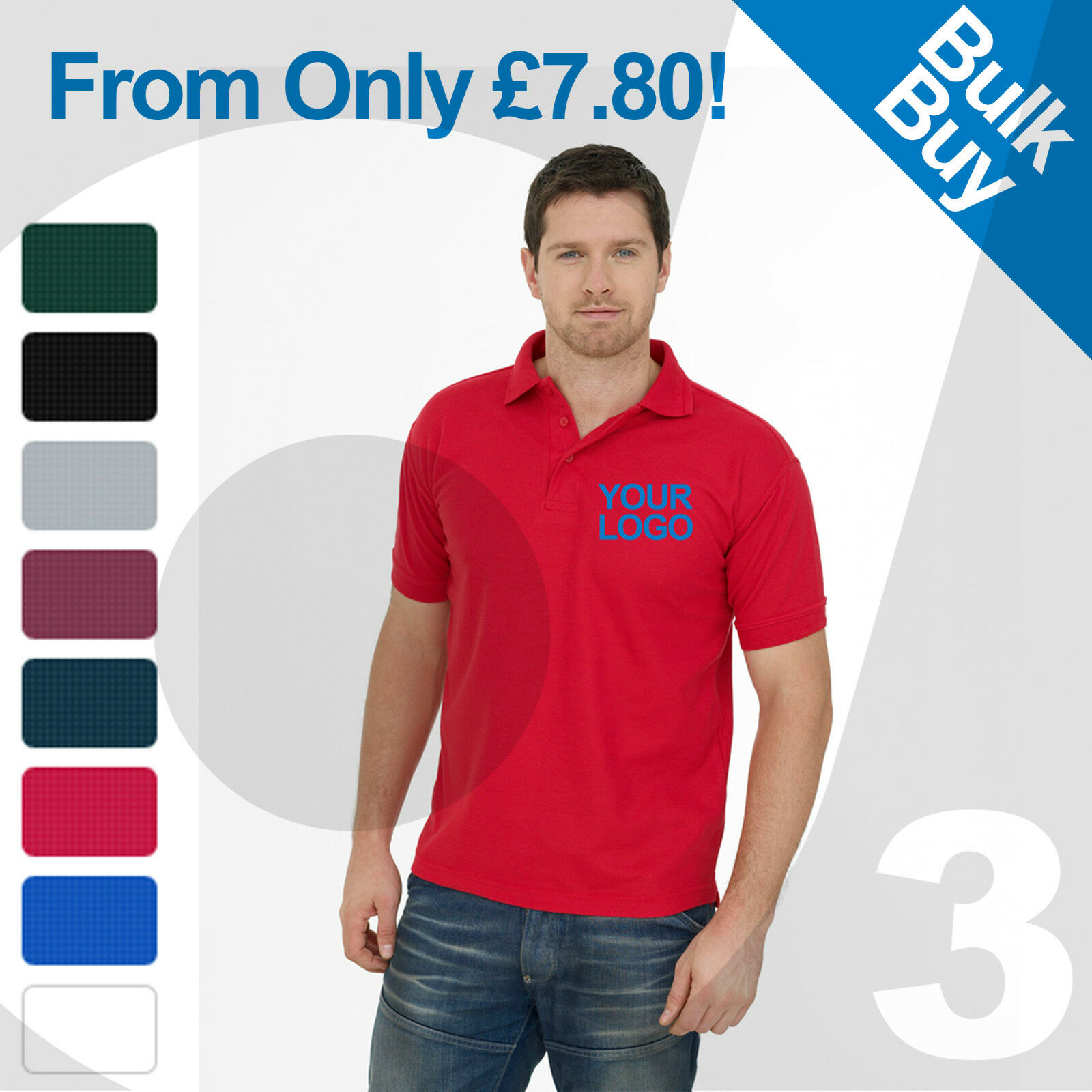 Personalised Embroiderot   Printed Polo Shirts Customised Workwear Text Logo Lot