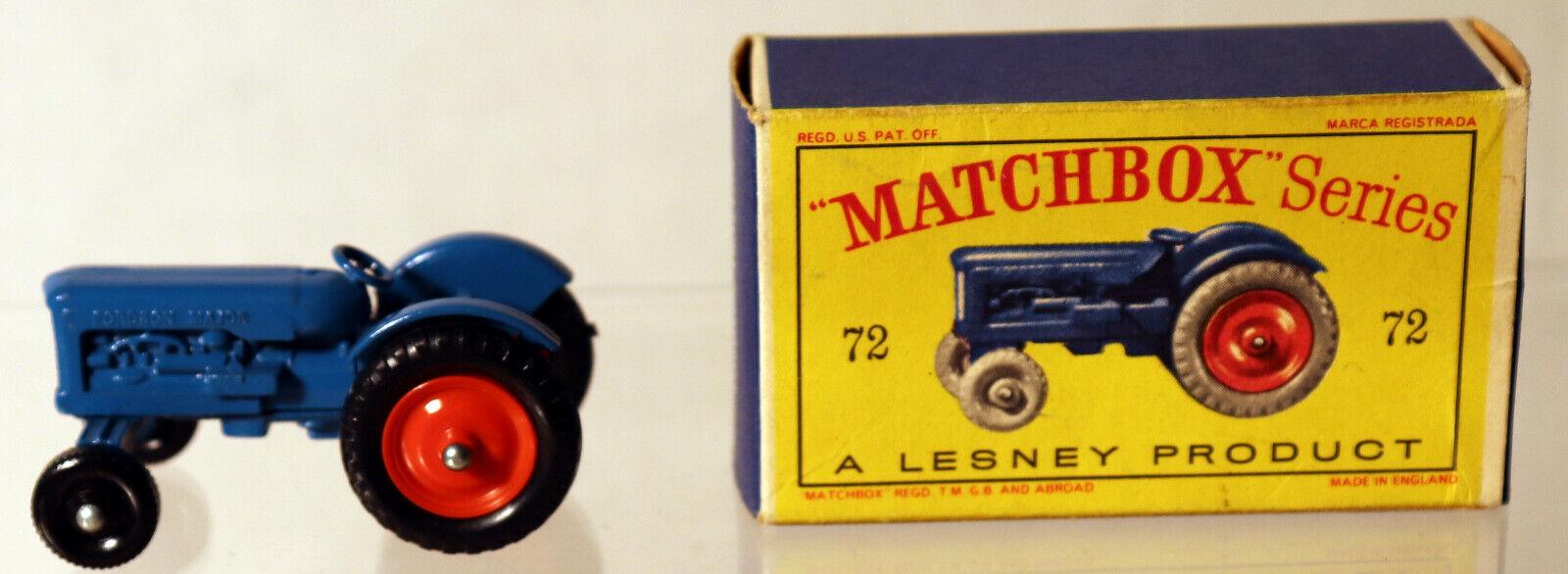DTE Lesney Matchbox Regular ruedas 72-1 Fordson Tractor con FR agua peptonada tamponada Trasera Portero Nuevo en Caja Original