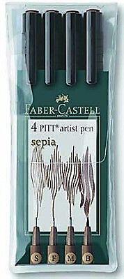 Faber Castell Artist Pitt Drawing Pens Wallet Set of 4 Pens. SEPIA (S,F,M,B)