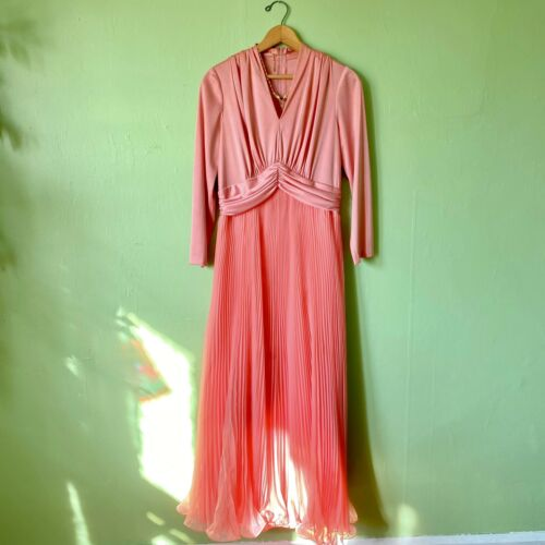 Vintage 1970s Bubblegum Pink Pleated Tulle Gown