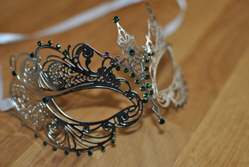 Venetian Silver  Metal Mask Filigree Masquerade Green Diamante Ball Prom//Ball.
