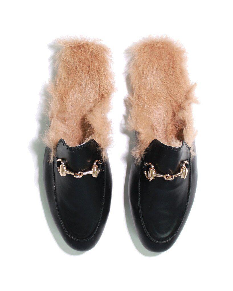 Para mujer Slip On Conejo-Piel Forrada Negro Nuevos diapositiva Mocasines Zapatillas Zapatos Nuevos Negro 09e749