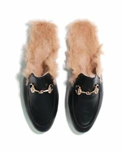 ff5c927cb0f Image is loading Horsebit-Rabbit-Fur-Lined-Black-Princetown-Slide-Loafers-