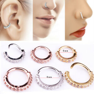 c0d87f4ec 6/8mm Nose Ring Hoop Rook Helix Ear Studs Cuff Cartilage Crystal ...