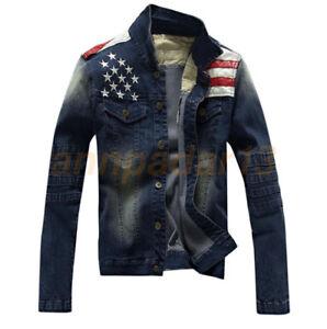 Vintage-American-Flag-Jeans-Coat-Slim-Men-039-s-Motorcycle-Denim-Jacket