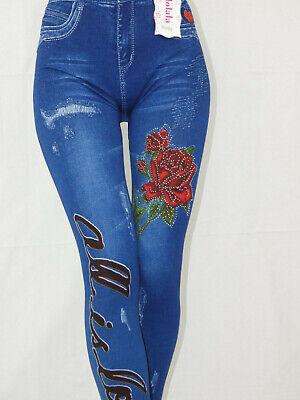 Hochbund Bauchweg Leggings Strass Jeans Optik Leggins Disco Tattoo Gr:36-42