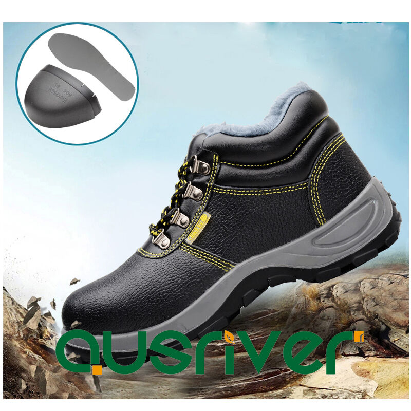 Waterproof Unisex Leather Boots Safety Steel Toe Cap shoes Lace Up Single Fleece