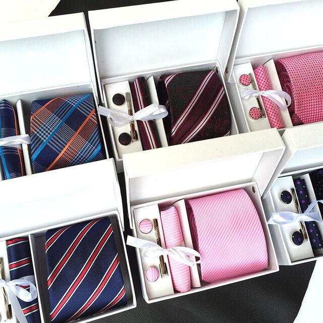 Set Mens Jacquard weave Polyester Tie Handkerchief Cufflinks Clip in Gift Box