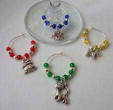 Animal Wine Glass Charms Elephant, Cat, Dog, Bunny Set of 4 + Free Gift Bag
