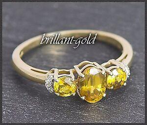 Gold-Ring-Diamant-amp-Citrin-Damen-10-Karat-Gelbgold-Diamantring-Damenring-Neu