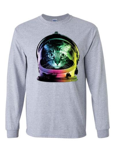 Space Cat Long Sleeve T-Shirt Astronaut Kitten Neon Galaxy